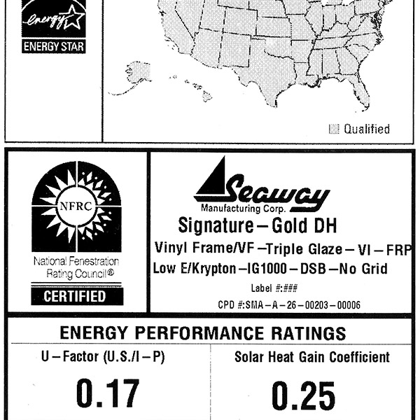 Energy efficiency windows for Signature Gold by Seaway